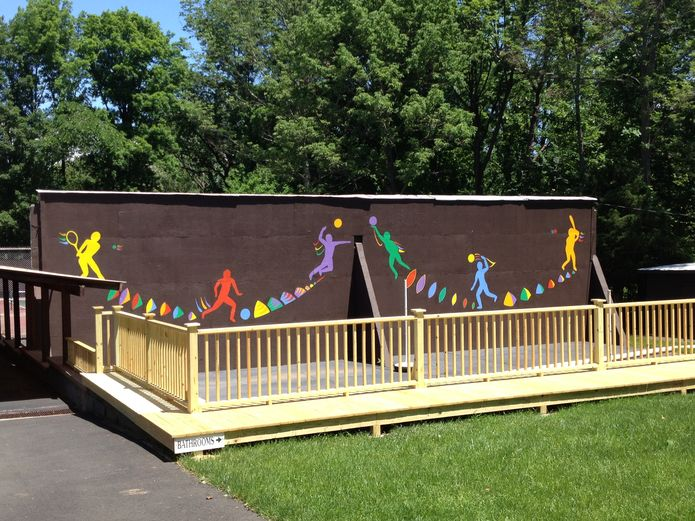 Our new handball court railing and mural